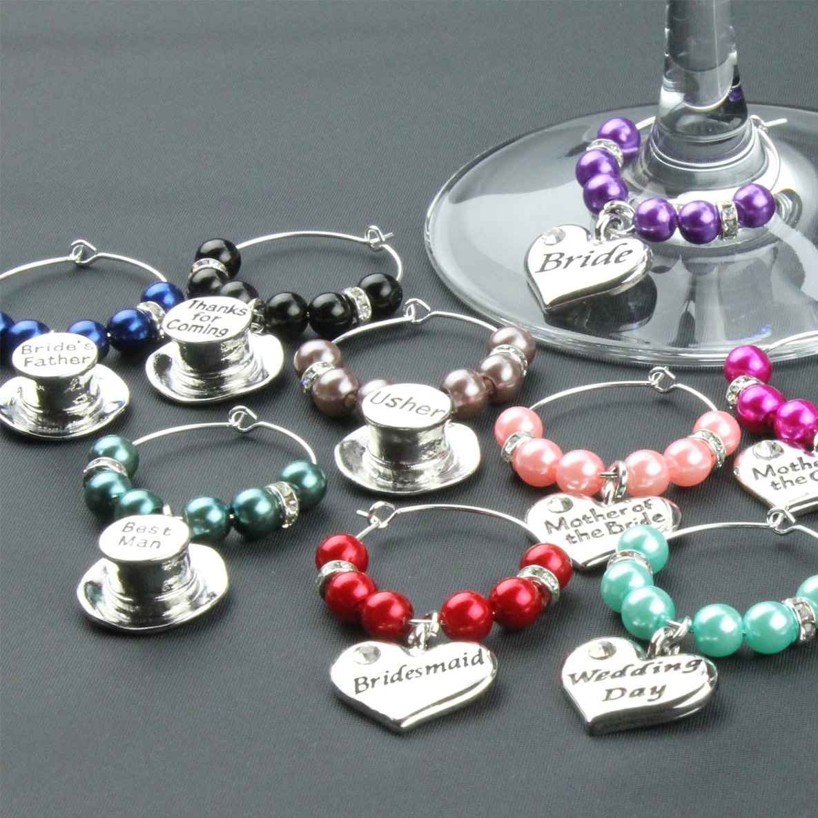 Wine Glass Charms Wedding Table Decorations Favours - Mint Green ...