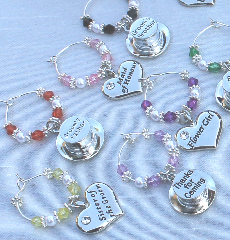 Personalised Wedding Champagne Wine Glass Charms Favours Decorations